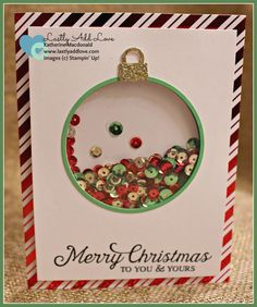 To You and Yours Shaker Card Kit; Six Sayings, Delicate Ornament Thinlit Dies, Katherine Macdonald, Stampin' Up! Diy Christmas Cards, Handmade Christmas, Holiday Cards, Karten Diy, Shaker Cards, Winter Cards, Card Kit, Creative Cards, Yule