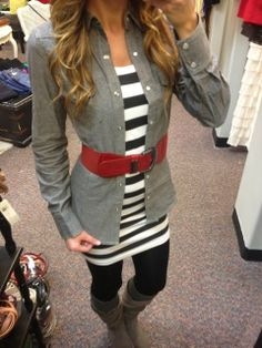 Fall Outfit With Long Boots and Red Belt These shirts with a long black skirt Fall Winter Outfits, Autumn Winter Fashion, Winter Style, Passion For Fashion, Dress To Impress, Cute Outfits, Fashion Outfits, Womens Fashion, Long Boots