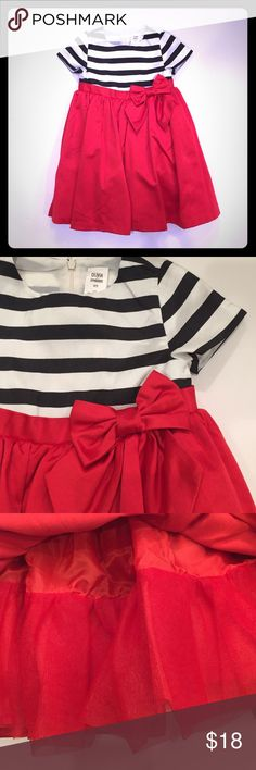 Olivia for Gymboree Dress Beautiful cream and black striped at top, red at bottom. Lined at skirt with bow accent. Gymboree Dresses