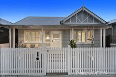 Sticks and Wombat's abode features a white picket fence that leads the way to a grey and white Period façade Weatherboard House, House Paint Exterior, House Painting, House Colors, House, Building A House, Picket Fence, Fence Design, Bungalow Exterior