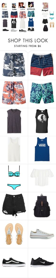 """""""Beach day with the boys"""" by reyesang ❤ liked on Polyvore featuring Etro, Hollister Co., prAna, Uniqlo, Vans, Valentino, Boohoo, Converse, NIKE and 5sos"""
