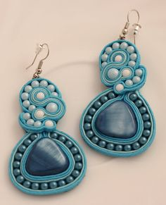 Turquoise soutache earrings