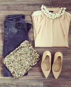 Neutrals + Jeans + Sparkle Gorgeous