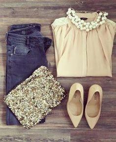 Neutrals + Jeans + Sparkle Gorgeous