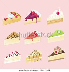 Fancy cheesecake or shortcake cake dessert icon set with 9 different look and cream fruit toppings in isolated background, create by vector