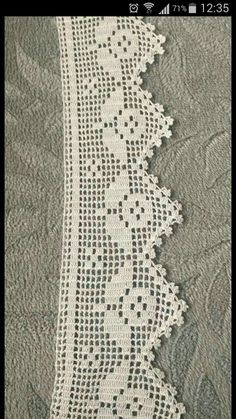 The edging in the photo says it is from a pattern found in Crochet Lace Edging, Crochet Borders, Filet Crochet, Crochet Stitches, Knit Crochet, Crochet Patterns, Chrochet, Diy Necklace, Needlework