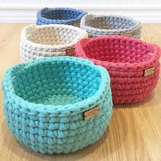 These beautiful jersey/cotton crochet bowls were just listed in the shop.  Five  beautiful colors to choose from.  They are the perfect addition to your home or office decor, and functional as a storage piece as well.