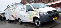 Dubbel duurzame Volkswagen Transporter op aardgas.