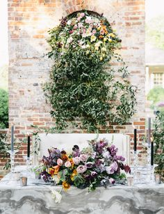 Urban Ruins Surprise Wedding Inspiration // berry marble fall tablescape