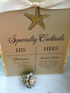 Specialty Wedding Cocktails - find a theme and do his/her cocktails