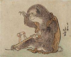 """Monkey Playing with a Monkey Toy"" (ca. 1800) by Katsushika Hokusai"