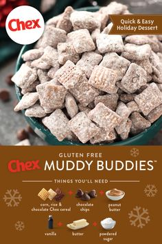 We've got festive recipes to last you and your family the whole holiday season! From sweet peppermint and creamy chocolate to salty nut and savory seasonings, these easy holiday recipes are perfect for any party, family tradition or simple treat. Easy Holiday Recipes, Holiday Desserts, Holiday Baking, Christmas Baking, Holiday Ideas, Chex Mix Recipes, Snack Recipes, Dessert Recipes, Cooking Recipes