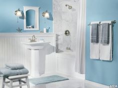 Light Blue Bathroom Decorating Ideas Guest Chair In V Shaped Legs Ideas Glass Standing Shower Divider Toilet Top Chrome Faucet Mirror Blue Ceramic Counter Top