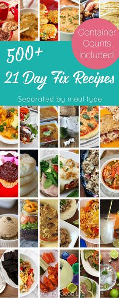 A collection of recipes for the 21 Day Fix, separated by category (breakfast, lunch, dinner, Shakeology, crock pot, Instant Pot, allergy friendly). The best part? They all include container counts!