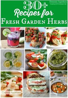 30+ Recipes for Fresh Garden Herbs - drinks, desserts, main dishes, and sides! Something for all those yummy garden herbs! Herb Recipes, Great Recipes, Cooking Recipes, Favorite Recipes, Healthy Recipes, Cooking Ham, Cooking Pasta, Recipes Dinner, Lunch Recipes