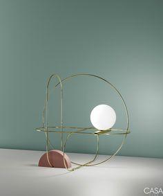 Lampe de table Setareh circle / LED - L 48 x H 45 cm Or, Rose, blanc - Fontana Arte Room Lamp, Desk Lamp, Lamp Table, Tiffany Table Lamps, Delta Light, Led Spots, Style Deco, Luminaire Design, Bedroom Decor