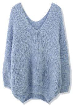 V-Neck Fluffy Oversize Sweater in Blue - Retro, Indie and Unique Fashion