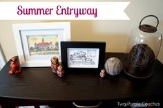 Summer Entryway with a travel theme // twopurplecouches.com