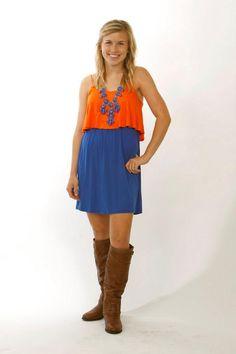 Orange and blue gameday dress with beautiful back design! | Orange ...