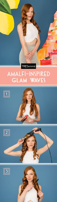 Use Tresemmé Perfectly (un)Done Sea Foam for a lightweight hold to keep glam waves soft and feminine. Click for our full how-to!