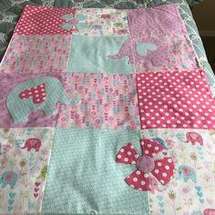 Girls Appliquéd Flannel Blanket   www.teatimequiltsnmore.etsy.com  #babyblanket #girls #elephants