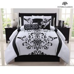With its bold stripe and damask pattern, the VCNY Camille 7 Piece Reversible Comforter Set reinvents your bedroom. A complete comforter set,. Furniture, Comforter Sets, Comforters, Bed Comforters, Black White Bedding, Bed Bath And Beyond, Bedding Stores, Damask Bedding, Bedding Sets