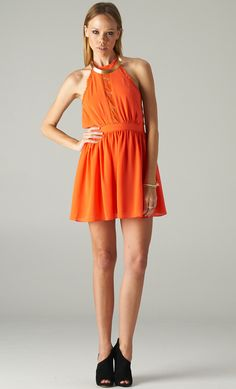 BACKLESS ORANGE LACE DRESS