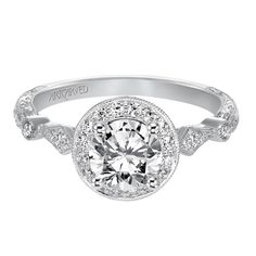 Halo hand engraved with milgrain engagement ring by ArtCarved Bridal.
