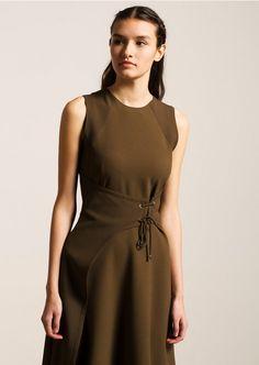 Olive Green Side Tie Dress - DRESSES