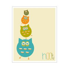 hoot 11x14 inch print by Finny and Zook by KZukowski   love all her prints!