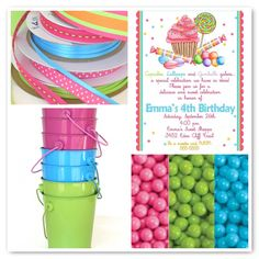 awesome Candy Themed Birthday Party Invitations