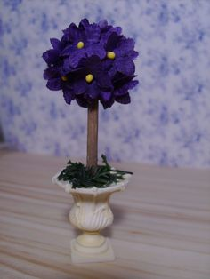 Dollhouse Miniature Violet Topiary Scale by miniaturerosegarden, $19.00