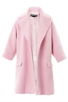 Details about Coral Pink Blush Oversized Peacoat Basic Notch ...