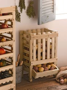 Wood Potato Bin | Wood Potato Storage Bin | Traditional Bin Stores Potatoes, Squash, Apples and More  Store potatoes, apples, onions and winter squash Slatted sides ensure good airflow, increasing shelf life Fill from top, dispense from below