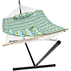 Sunnydaze Blue/Green Chevron Cotton Rope Hammock with 12-Foot Steel Stand, Pad and Pillow-275 Pound Capacity. For product & price info go to:  https://all4hiking.com/products/sunnydaze-blue-green-chevron-cotton-rope-hammock-with-12-foot-steel-stand-pad-and-pillow-275-pound-capacity/