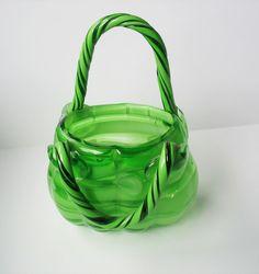 Handblown Art Glass Handbag Vase Candy Dish Murano Style Heavy Green Stripes  #Murano