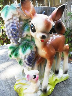 50's Vintage Bambi Deer Vase with Mouse Friend