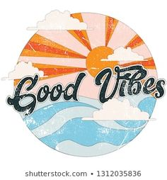 Cute Wallpapers Discover Slogan: Imágenes fotos de stock y vectores Good Vibes retro slogan with waves and and sun vector illustrations. For t-shirt prints and other uses. Cd Art, Record Art, Aesthetic Stickers, Photo Wall Collage, Cute Stickers, Aesthetic Wallpapers, Cute Wallpapers, Art Inspo, Canvas Art