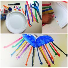 cutest jelly fish ever !! this is a great fine motor task that can help kids with counting skills and color recognition  #DIY #finemotor #pediatrics #therapist #OTworld #occupationaltherapy #arts #crafts #counting #numbers