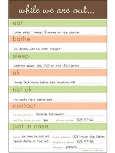Free printable notes for the babysitter | Kid Ideas | Pinterest ...