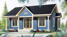 House Plan 65045 | Cabin   Country   Ranch    Plan with 910 Sq. Ft., 2 Bedrooms, 1 Bathrooms