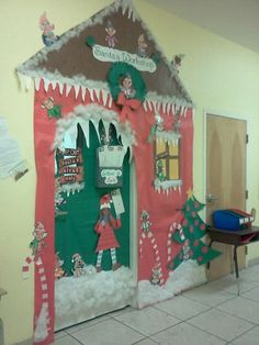 santas workshop christmas classroom door decoration