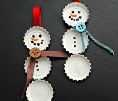 Easy DIY Christmas Ornament Ideas - Bottle Cap Snowman - Click Pic for 30 Holiday Craft Ideas