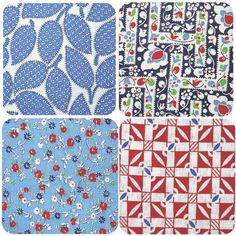 Red, white and blue vintage feedsack fabric #vintagesewing