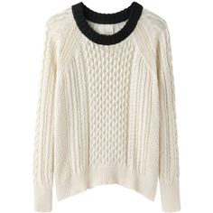Band of Outsiders Cable Knit Raglan ($188) ❤ liked on Polyvore featuring tops, sweaters, shirts, jumpers, white sweater, raglan shirts, cable-knit sweater, long cable knit sweater and long white shirt