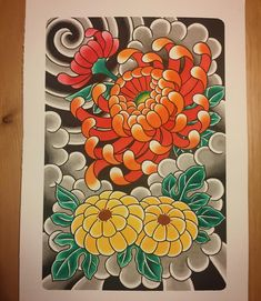 Japanese Peony Tattoo, Japanese Tattoo Symbols, Japanese Tattoo Designs, Japanese Sleeve Tattoos, Japanese Floral Design, Japanese Art Styles, Japanese Flowers, Chrysanthemum Tattoo, Poppies Tattoo
