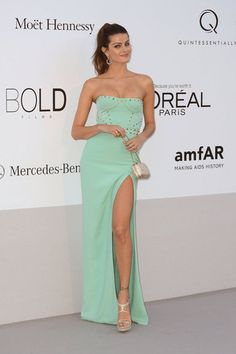 Isabeli Fontana wearing Versace at the amfAR Cinema Against AIDS gala.