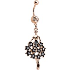 Clear Gem Rose Gold Plated Dancing Skirt of Stars Dangle Belly Ring | Body Candy Body Jewelry