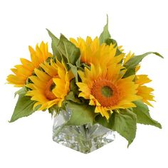 Bring a lush touch to your sunroom or entryway with this faux sunflower bouquet, nestled in a mouth-blown glass vase.   Product: