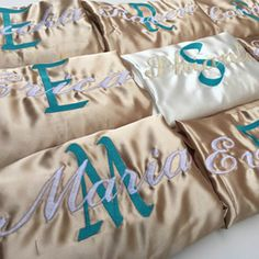 Shop now! Bridesmaids Bridal Party Gift Robes - Satin robe with included embroidered name or monogram. Flattering knee length Long), Full Sleeve Length, Two Pockets w/ Belt Bridal Party Robes, Gifts For Wedding Party, Party Gifts, Wedding Stuff, Bridesmaid Robes, Bridesmaids, Perfect Wedding, Dream Wedding, Wedding Dreams